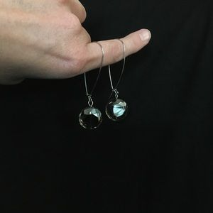 Clear gray dangle earrings